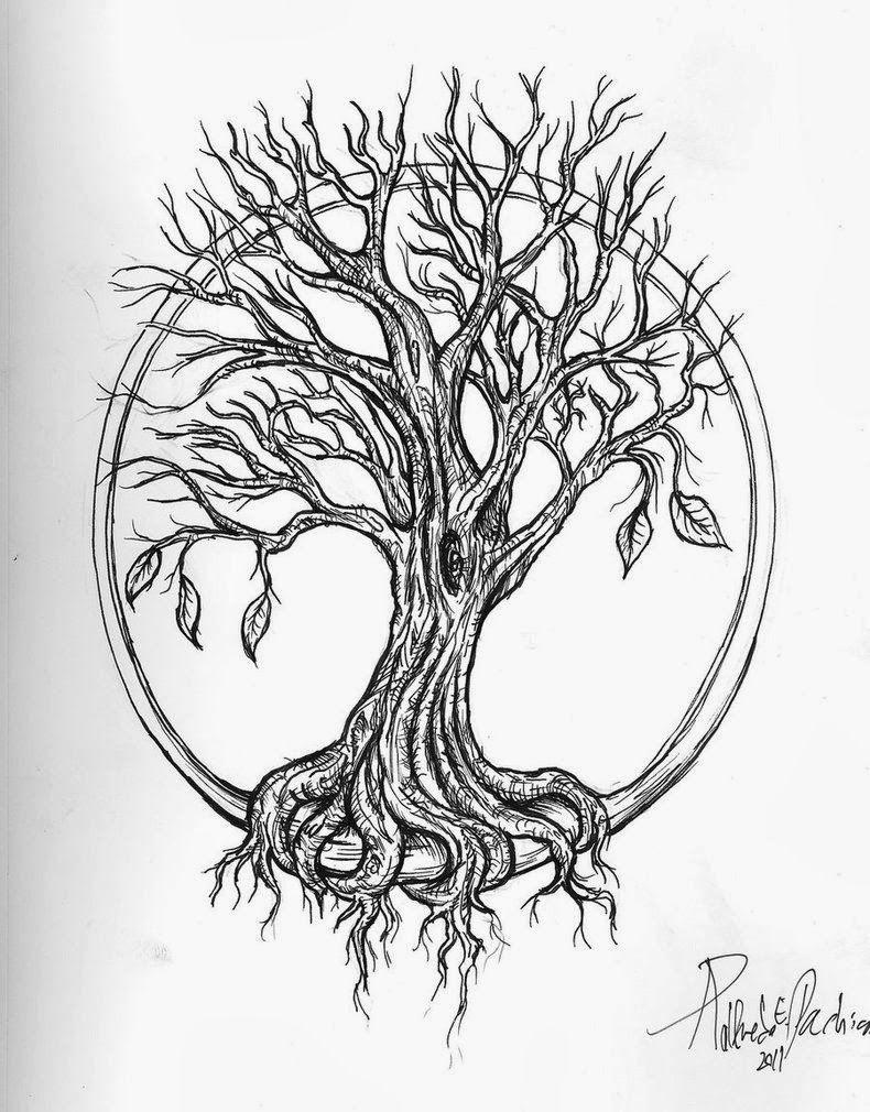 Tree Drawings With Roots Tattoos Diseño Guitarra Tatuaje Chica Zodiacal Diseño Oriental Arbol De Tatuaje árbol De La Vida Tatuajes Celtas Disenos De Unas