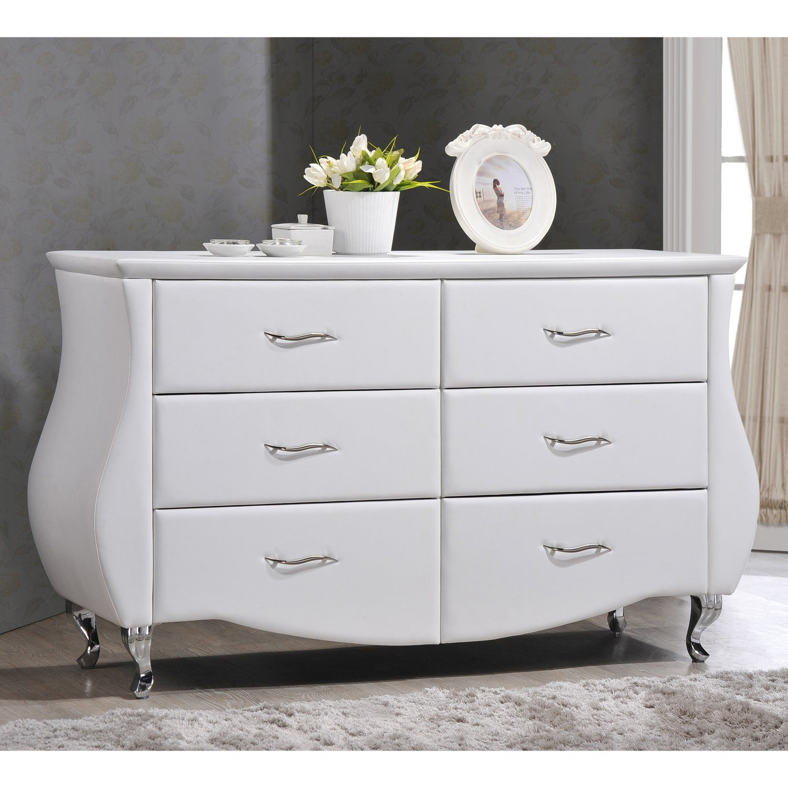 Baxton Studio Enzo 6 Drawer Faux Leather Dresser Bedroom