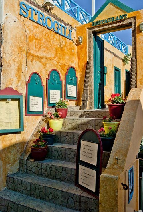 Stairs to a restaurant, Oia, Santorini, Greece