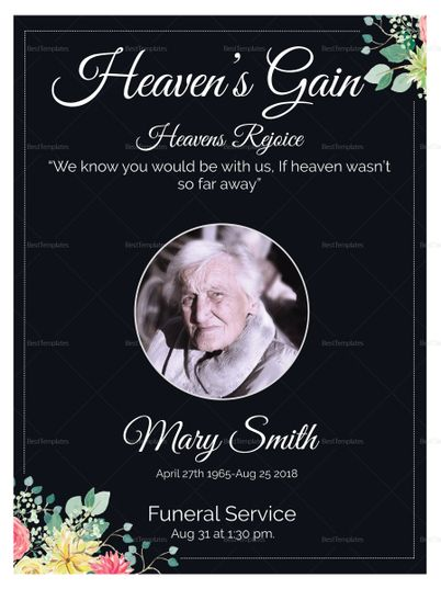Eulogy Funeral Invitation Card Template  Formats Included  Ms