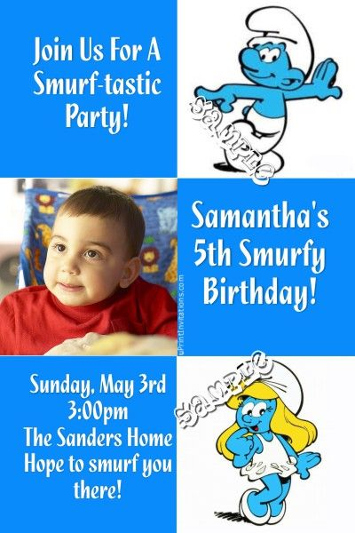 Smurf Birthday Invitations - Get these invitations RIGHT NOW - create invitations online free no download