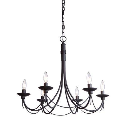 Wrought Iron Six Light Black Chandelier Artcraft Candles W 6 Or 7