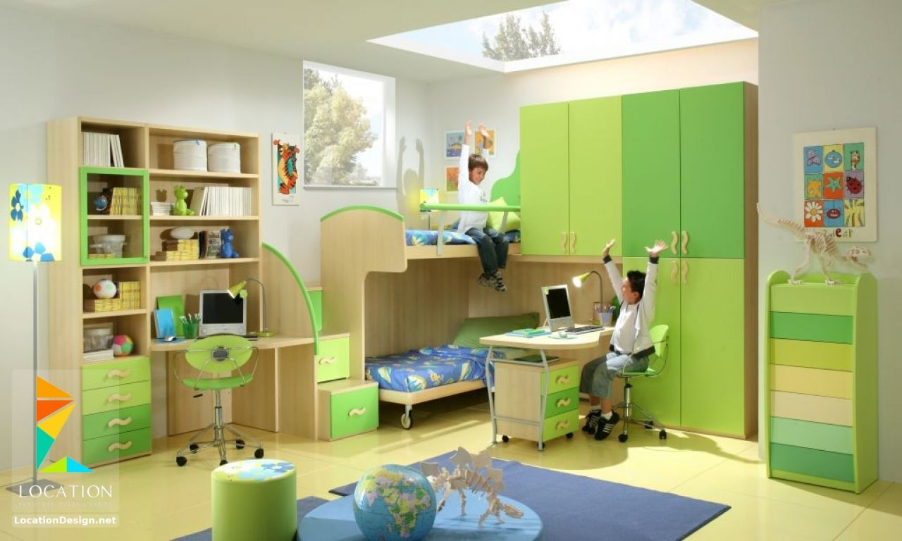 غرف نوم اولاد شباب أحدث موديلات غرف شبابي مودرن لوكشين ديزين نت Green Boys Room Cool Kids Bedrooms Boys Room Design