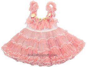 Preorder Little Mass *Flower Doll* Pink Fringe Top w/Tutu Bottom Sleeveless Dress *Super