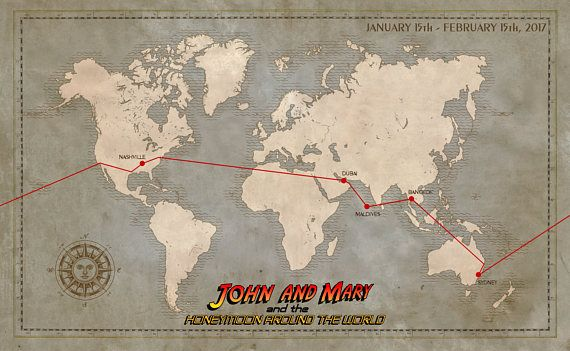 Customized Indiana Jones style Travel Map (printed on aged parchment) -  Perfect GIFT! By Magnoli Props  Map  PropReplica  Journey  Adventure  Gift 4ffb8fe8788d