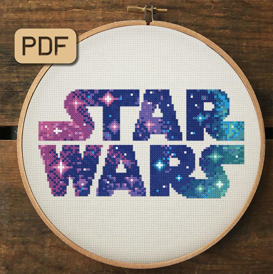 Photo of Star Wars Cross Stitch Pattern | Galaxy Cross Stitch Pattern Pdf | Star Wars Logo Cross Stitch Design