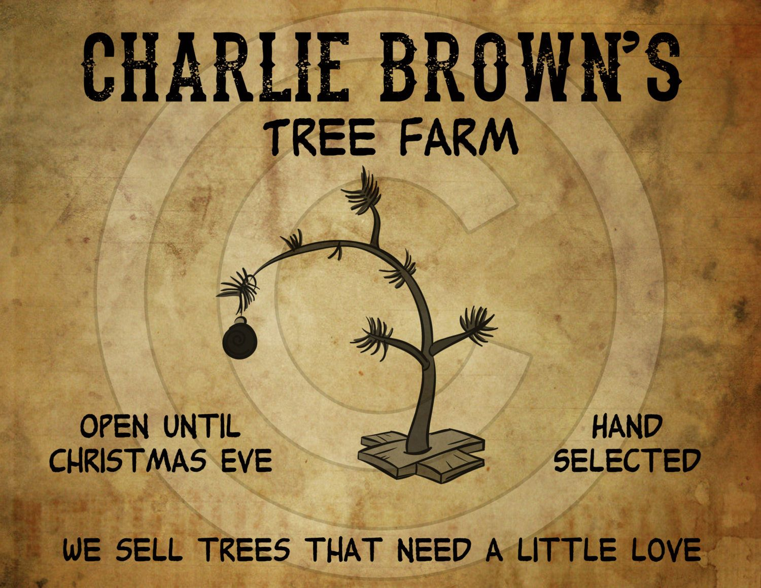 Charlie Brown Christmas Tree Farm Part - 25: Primitive Grungy Charlie Brown Christmas Tree Feedsack Feed Sack Logo  Printable Digital JPEG Instant Download For