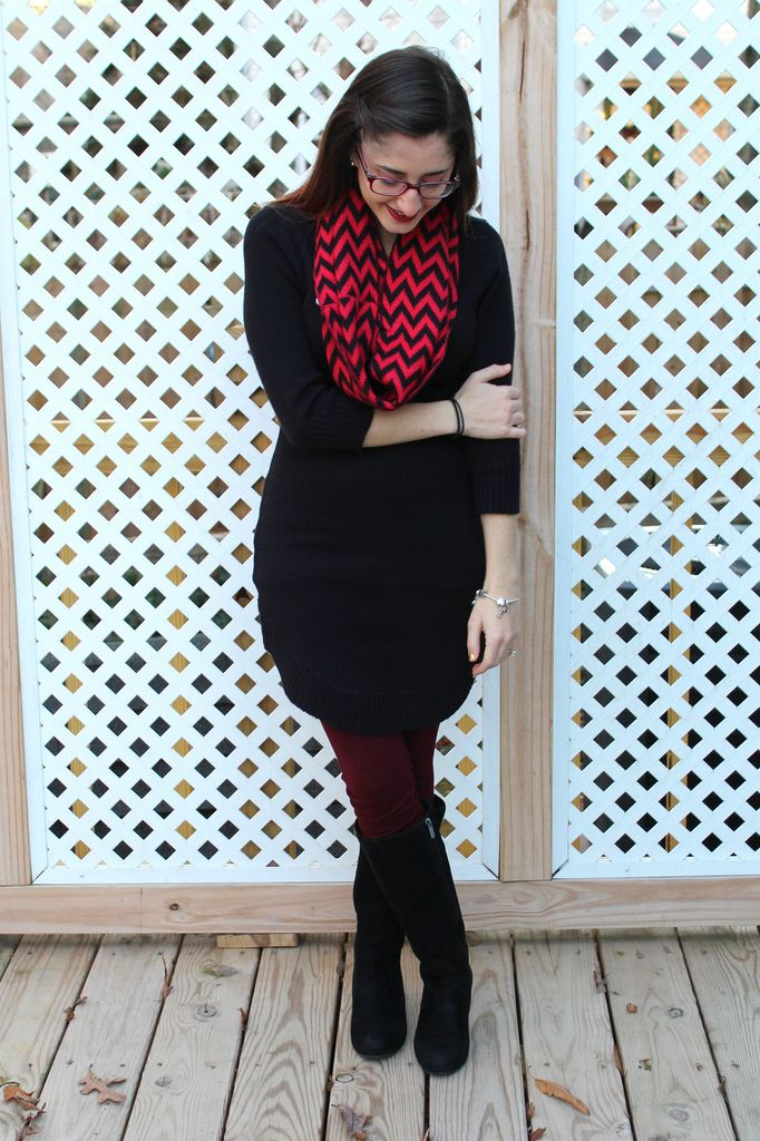 14164df0a82 Black sweater dress with burgundy leggings and red and black chevron scarf