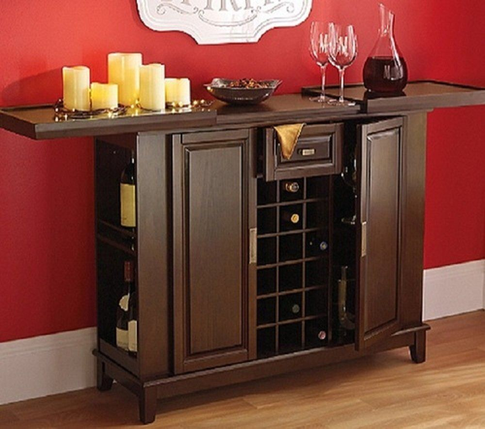 Amazon Com Wine Bar Liquor Cabinet Expanding Top Entertainment Center Buffet Server Deep Walnut Finish Furnit Home Bar Furniture Wine Bar Cabinet Cabinet