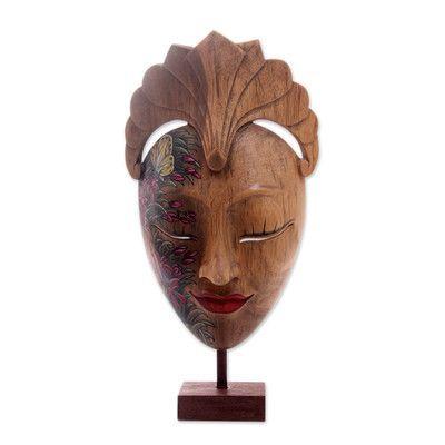 Novica Dream of Butterflies Wood Mask Wall Décor