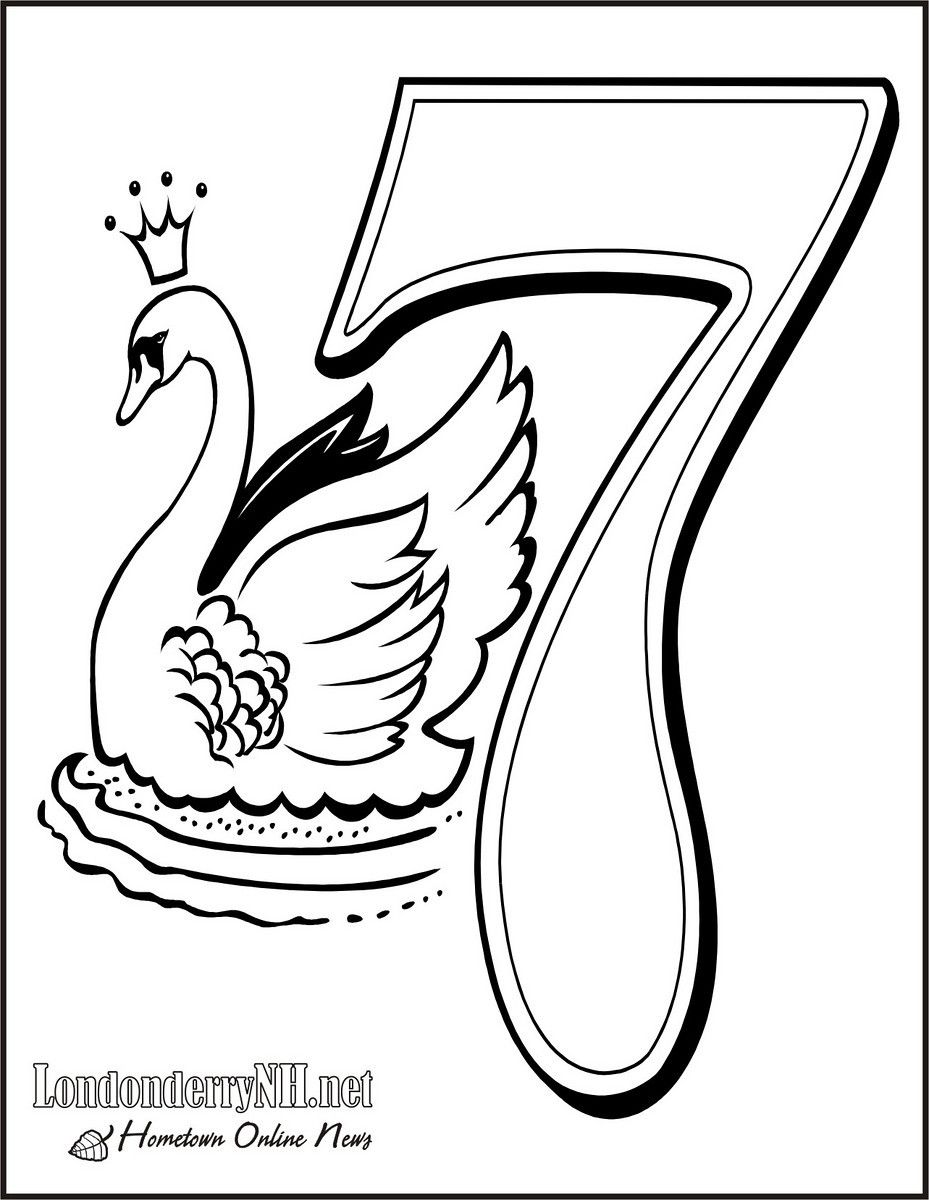 Seven Swans A-swimming Coloring Page | 12 Days of Christmas ...