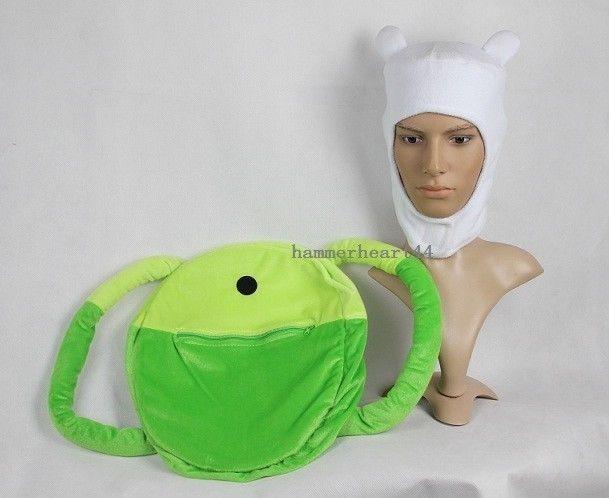 63c4f6482ff Adventure Time FINN HAT BACKPACK SET bag jake costume White Cap Fleece