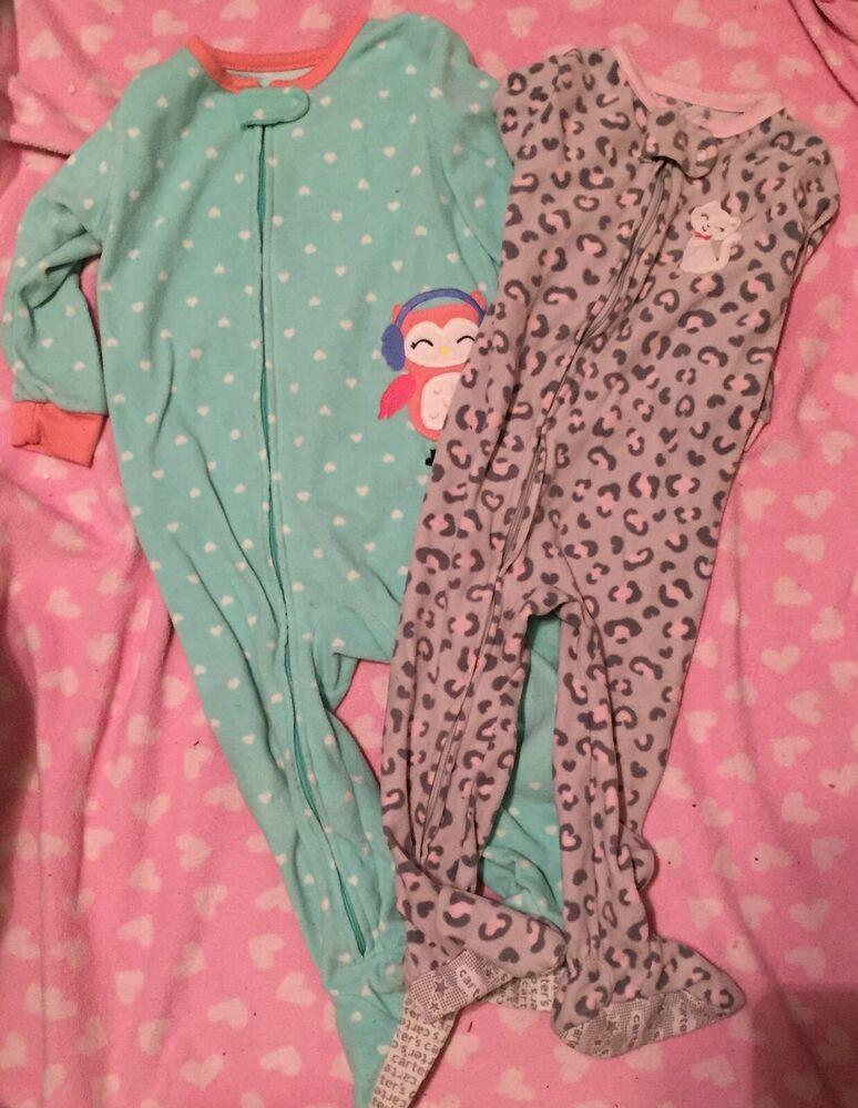 51d2c9960 Carters Baby Girl Feet Pajamas Fleece Size 18 Months Lot of 2 ...