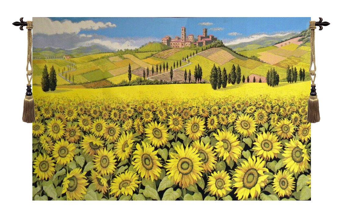 Tuscan Sunflower Landscape Italian Wall Hanging | Sunflowers ...