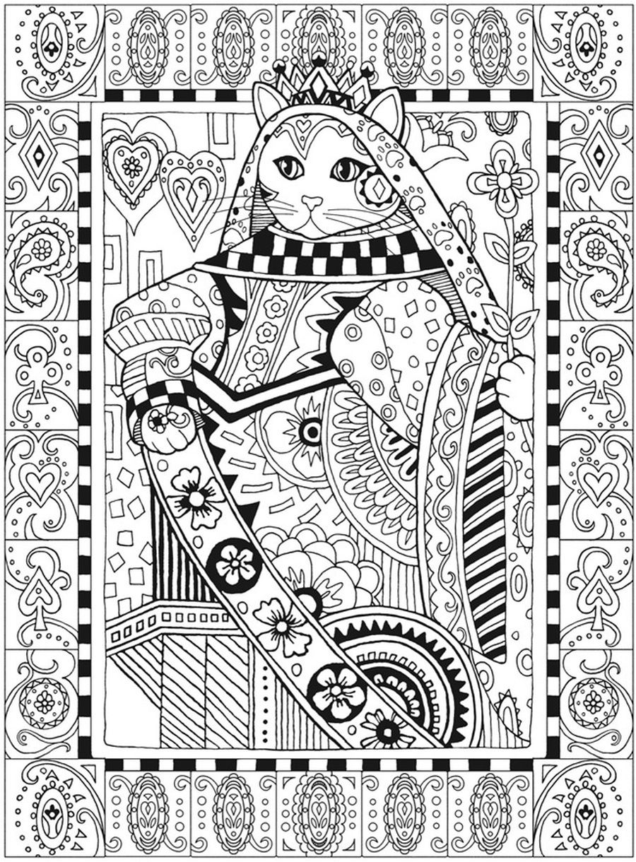 Cat Queen Coloring Page