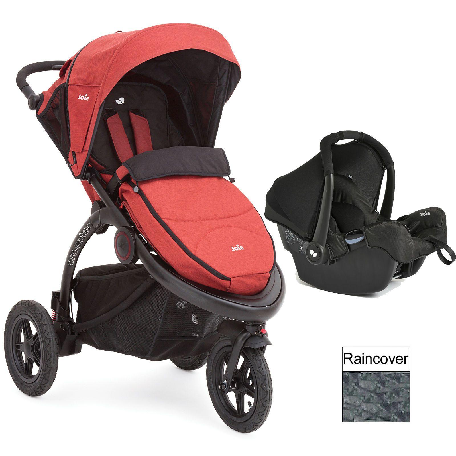 Joie rust orange crosster 3 wheeler travel system