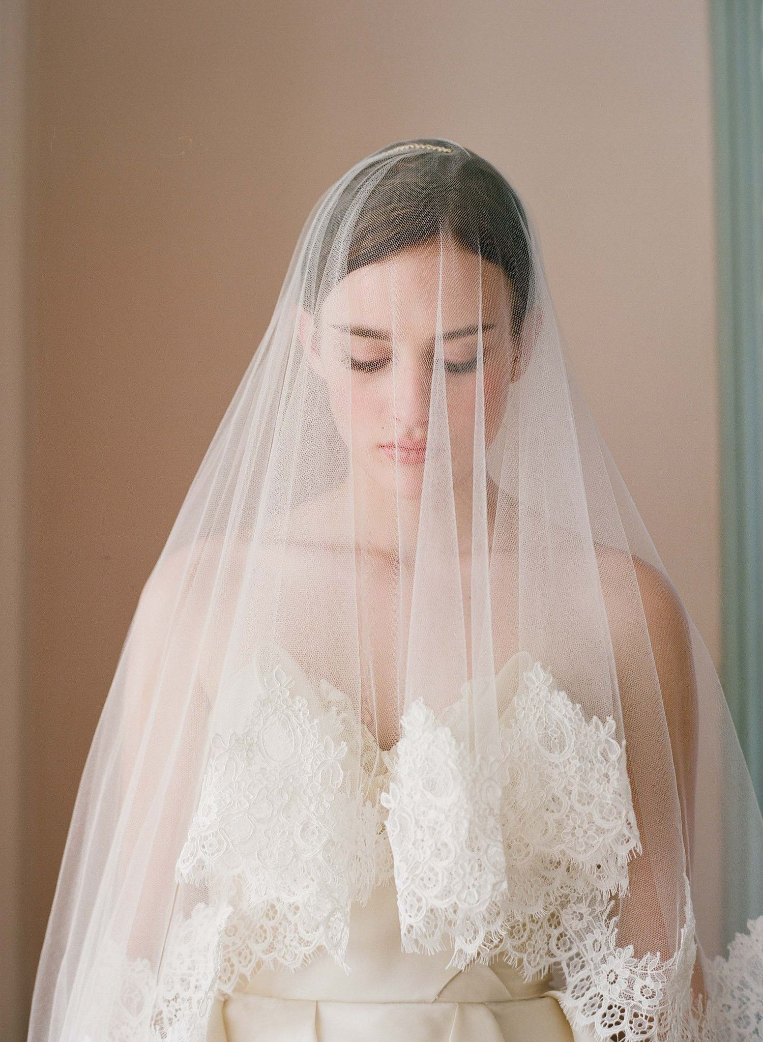 Silk tulle alencon lace trim veil - Style # 222 (made to order, tulle veils, twigs and honey, veils, view all) | Veils | Twigs & Honey ®, LLC