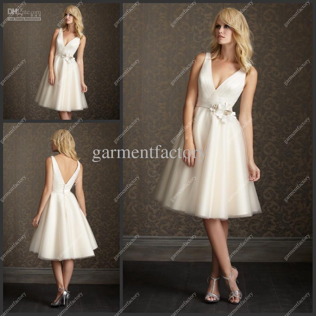 Wholesale summer short beach wedding dress v neck knee for Knee length beach wedding dresses