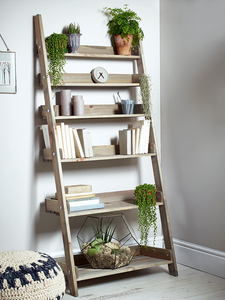 Picture Of Outstanding Storage Ideas With A Ladder Shelving Unit Wooden Decor Shelf