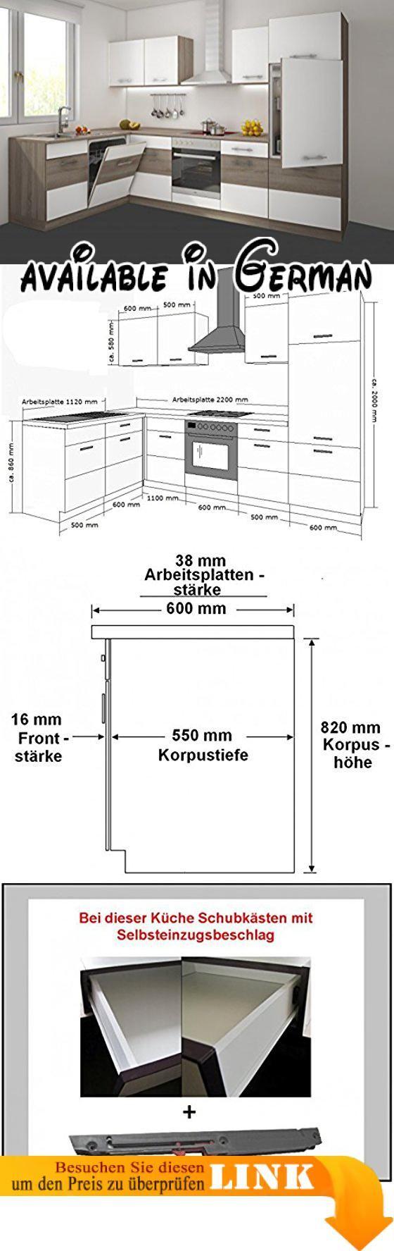 Maße Küchenblock b00pje0kh0 küche köln 172x280 cm küchenzeile in sonoma eiche