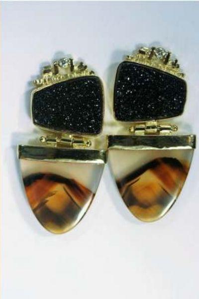 "Steven Kolodny Designs  "" Drusy Agate Earrings"" Black Drusy Agate , Montana Agates, .06ct. Diamonds, 18Kt Gold"