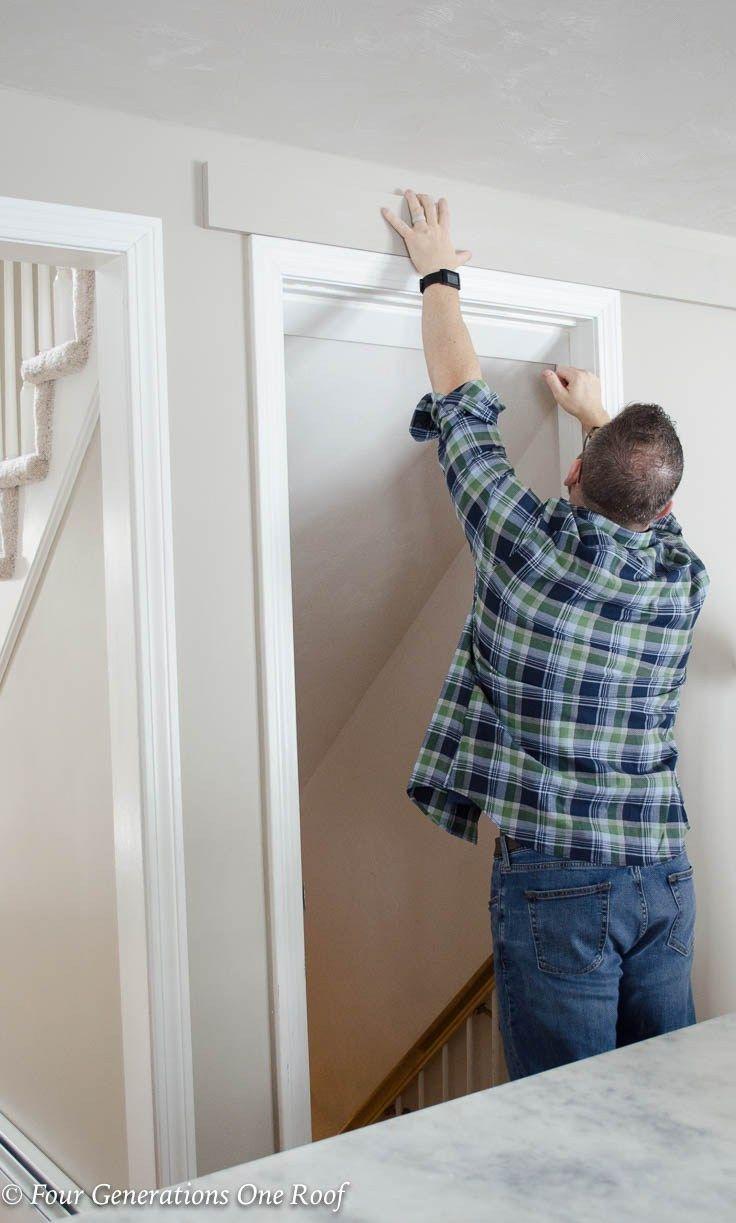 Barn door installation without removing door trim barn