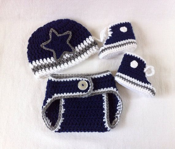 Dallas Cowboys Hat Converse Booties and Diaper Cover set for baby by ...
