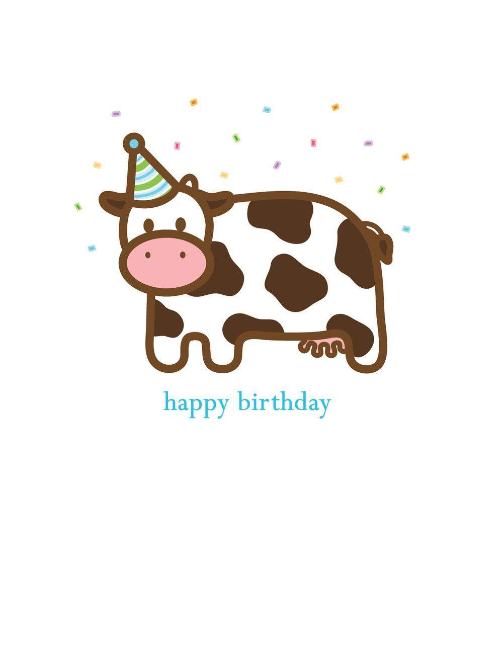 Cow Birthday Card Happy Birthday Cow Cow Birthday Happy Birthday Greeting Card