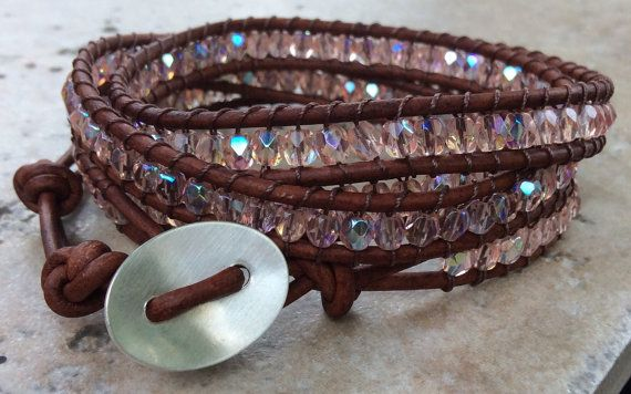 October birthstone pink opaline quad leather wrap by ZoesStarfish