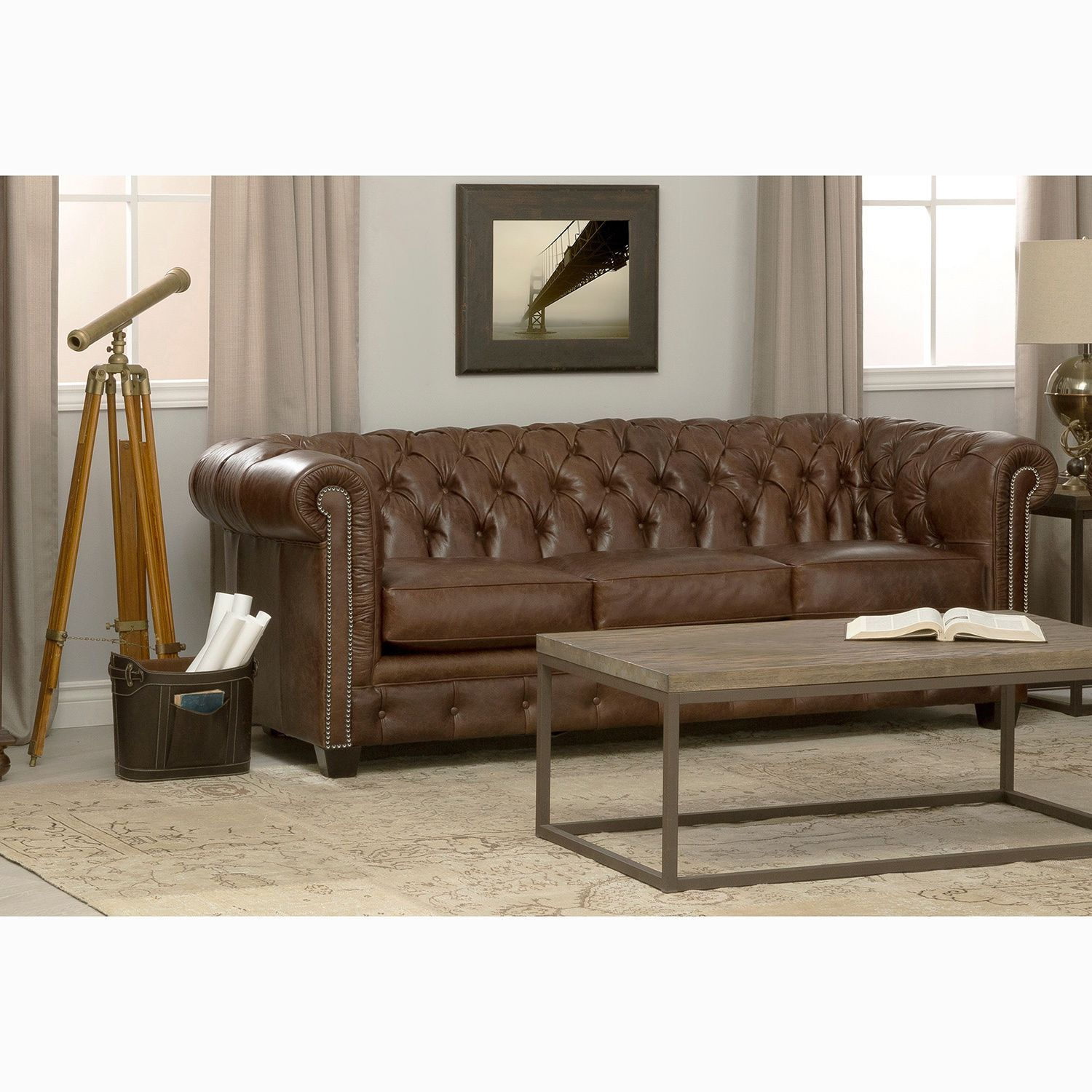 Hancock Tufted Distressed Brown Italian Chesterfield Leather Sofa (Brass)
