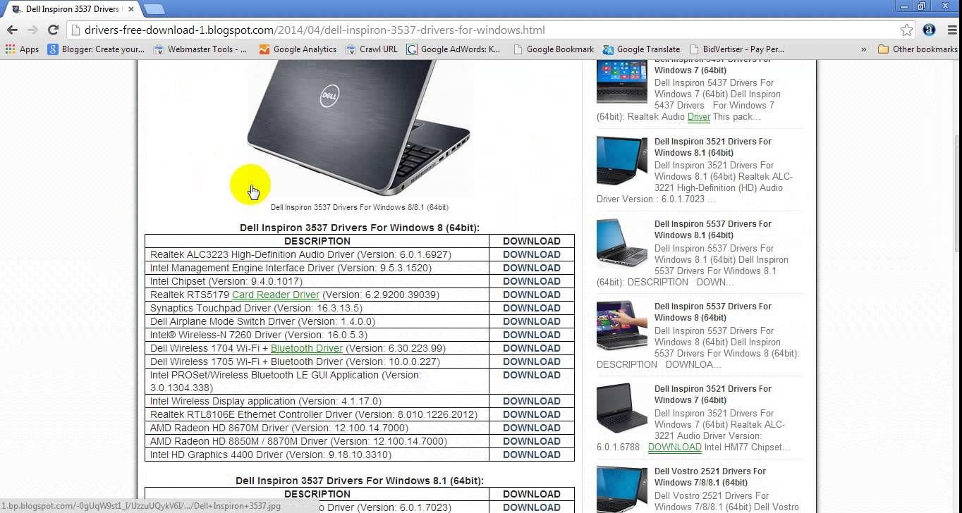 Dell inspiron 3537 drivers   free driver download   pinterest.
