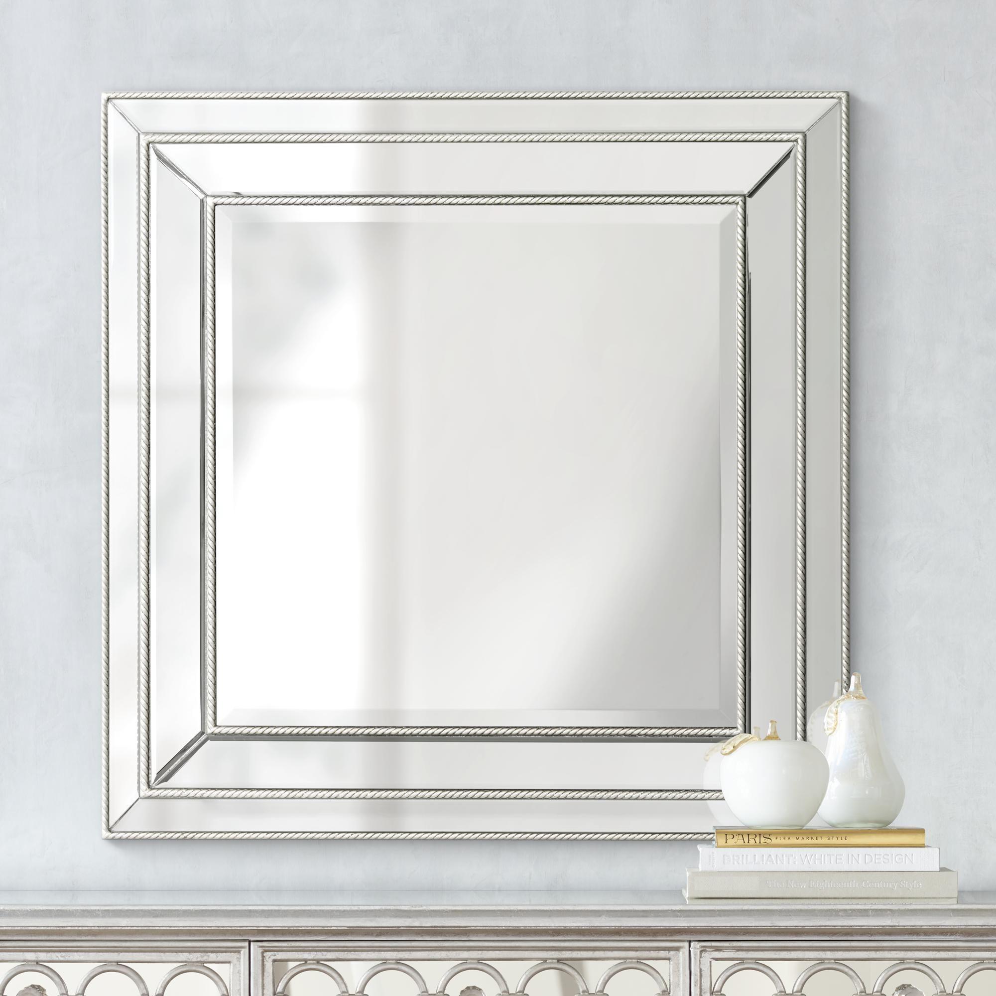 Harrel Silver Leaf 33 Square Beveled Wall Mirror 1k835 Lamps Plus Mirror Design Wall Mirror Wall Mirror Wall Decor [ 2000 x 2000 Pixel ]