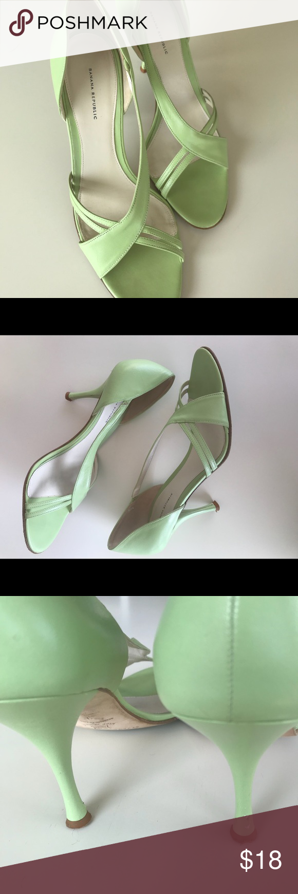 68ca7ff4c7 Banana Republic Leather Mint Green Heels Made in Italy, Banana Republic  Leather Heels.Such
