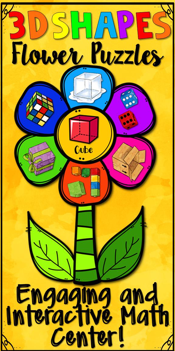3d Shapes Math Center Flower Puzzles Kindergarten Math Math
