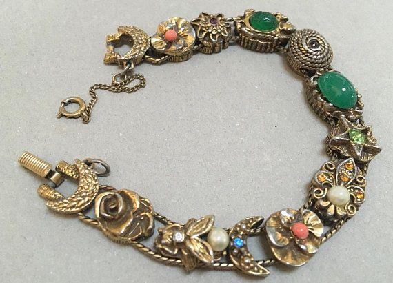 3c145ecbead2b Goldette Slide Bracelet – Victorian Revival – Sliding Charms – 1960s ...