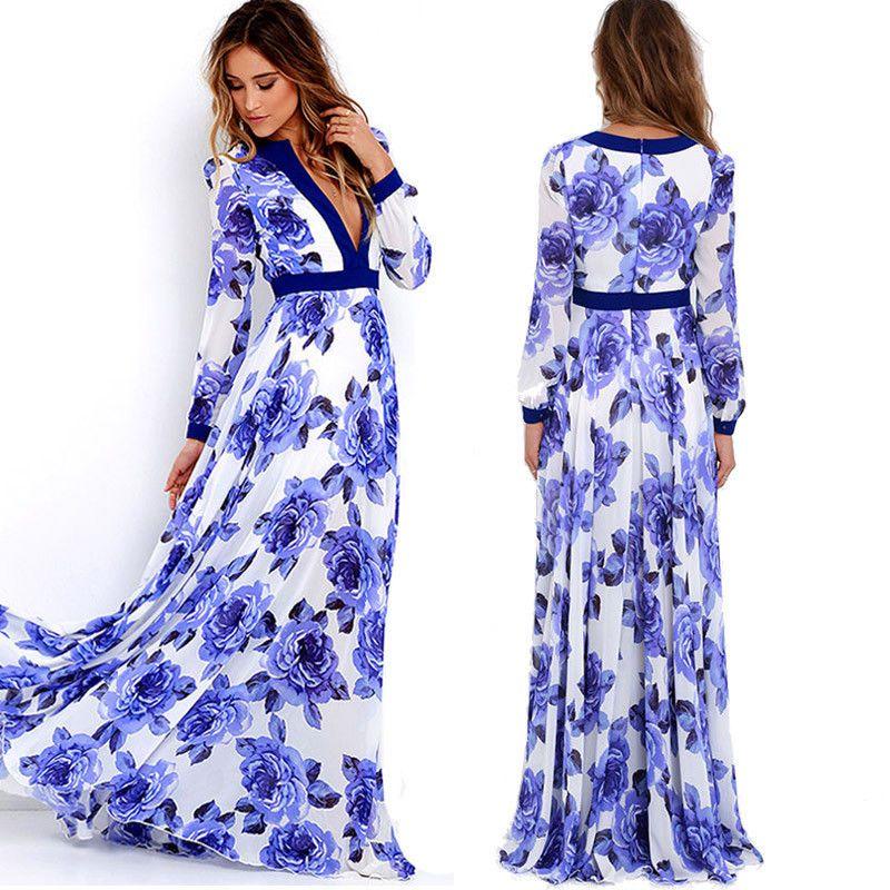 1055e309c366 £3.99 GBP - Women Boho Long Maxi Dress Evening Party Deep V-Neck Floral  Dress Sundress  ebay  Fashion