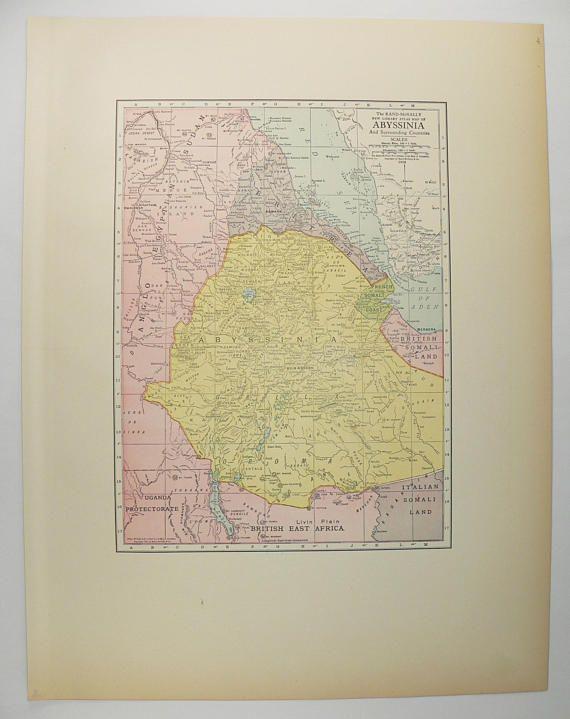 1912 Map of Abyssinia, Ethiopia, Somalia and Sudan Africa, Original ...