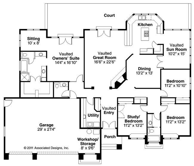 Southwest House Plans Cibola 10 202 Associated Designs Mediterranean House Plans Mediterranean Style House Plans House Plans One Story