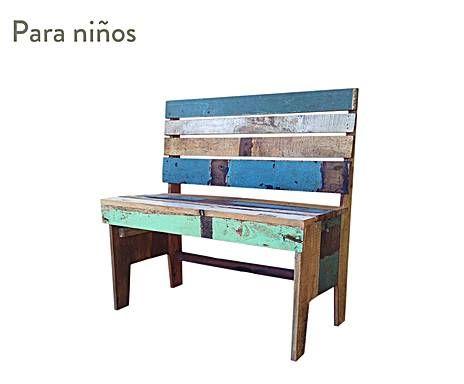 muebles reciclados banco kids en madera reciclada multicolor