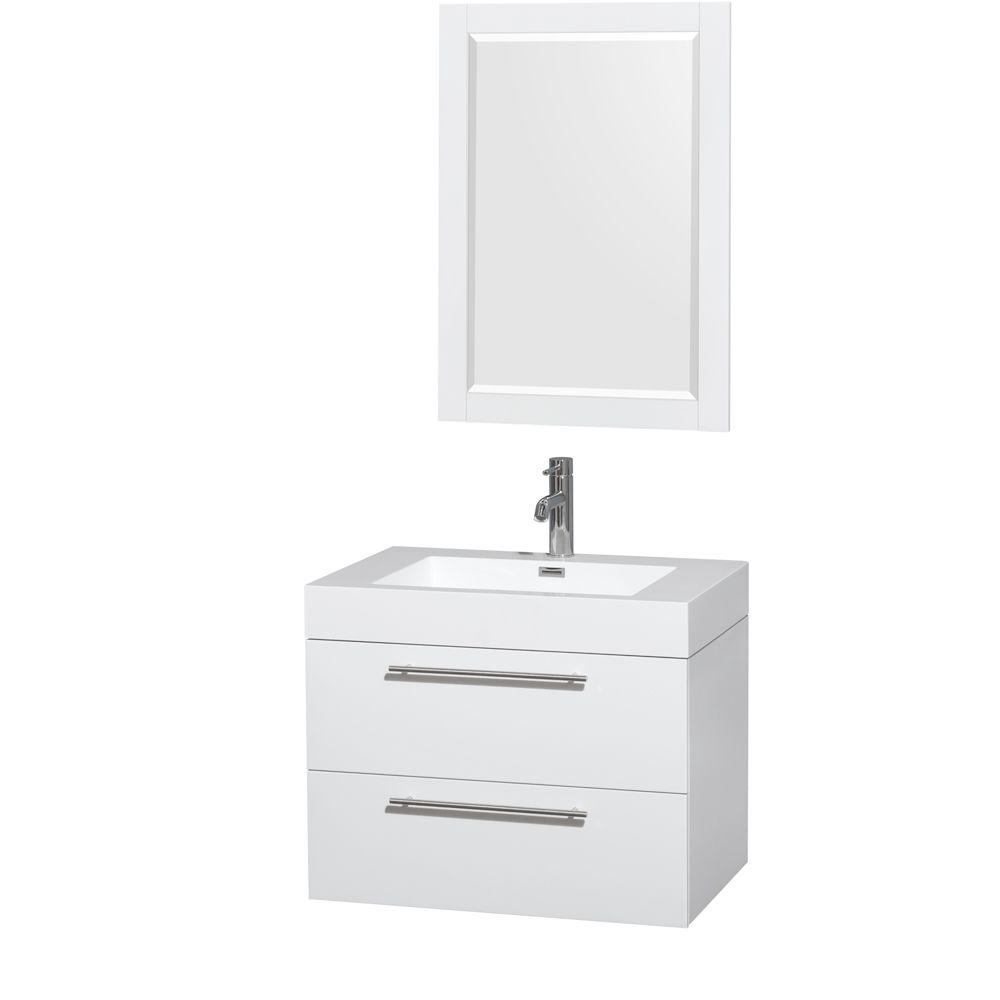 wyndham collection amare 29 in. vanity in glossy white with