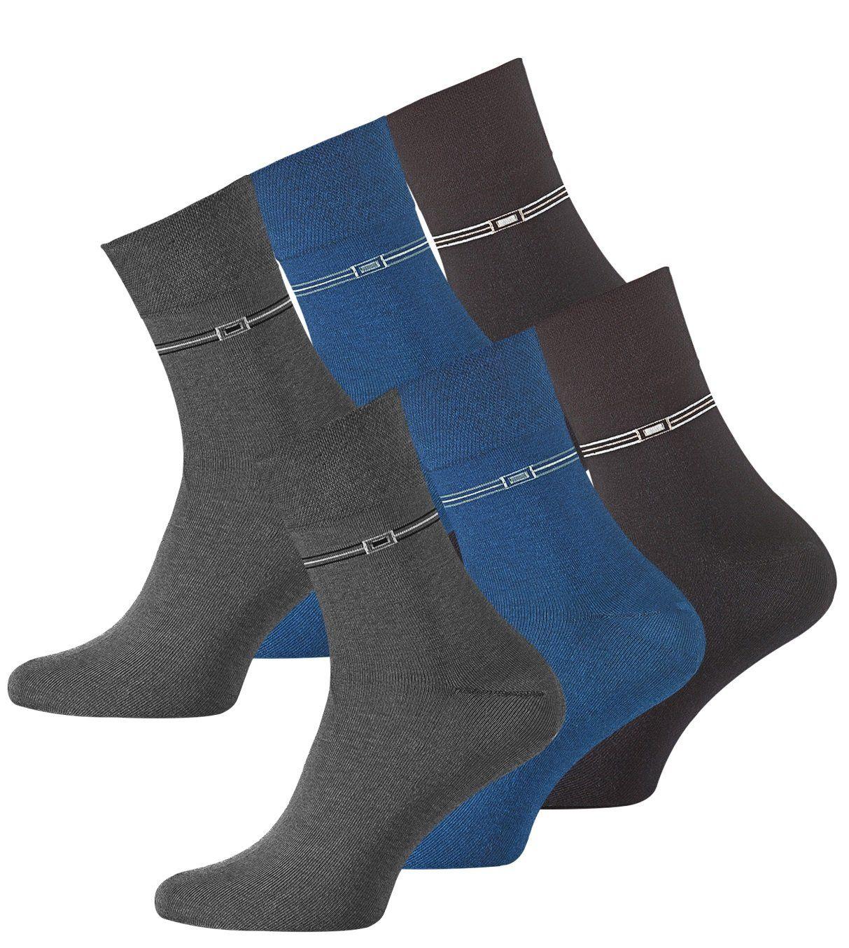 VCA 6 Paar Herren Kurzschaft Socken aus Baumwolle, ohne