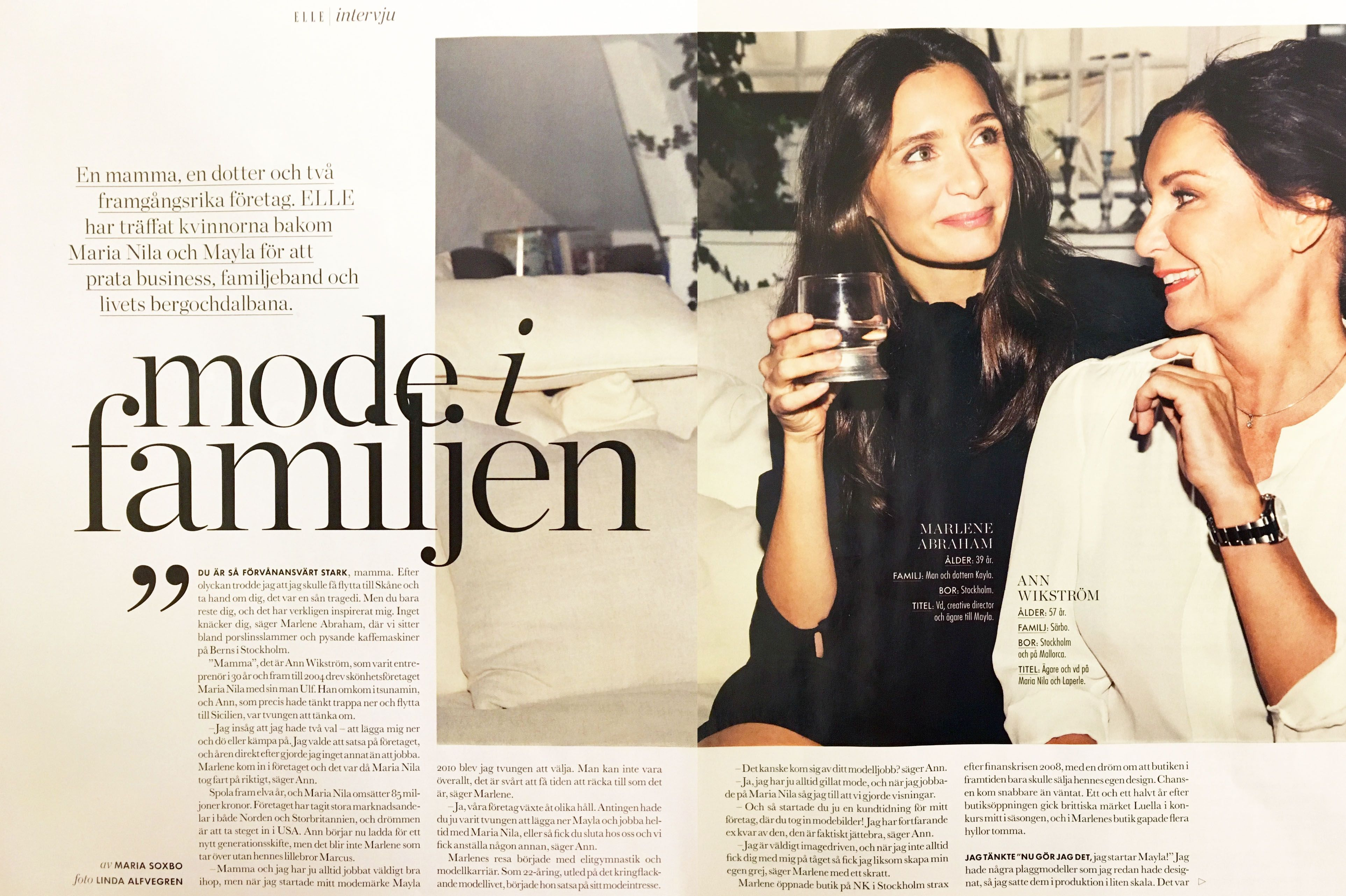 elle interview 2016 with marlene of mayla and her mother ann christin of maria nila mayla. Black Bedroom Furniture Sets. Home Design Ideas