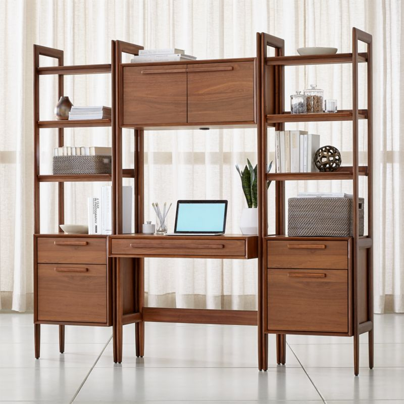 Tate Bookcase Desk with Power with 2 Bookcase File Cabinets images
