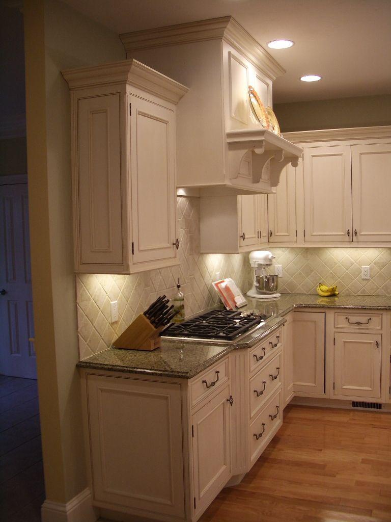 Gourmet kitchen, kitchen cabinets, white cabinets, wood ...