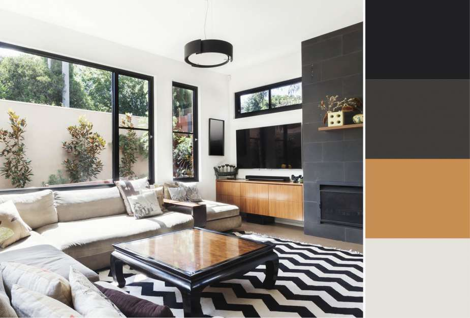 Impressive Color Scheme For Living Room Black White Charcoal Grey And Accent Wa Wall Color Combination Accent Walls In Living Room Grey Accent Wall Living Room