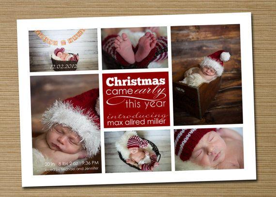 Photo Christmas Card, Holiday Card, Birth Announcement: PRINTABLE ...