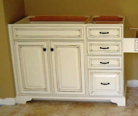 Add A Furniture Base To Stock Cabinets To Make Them Look Like Real