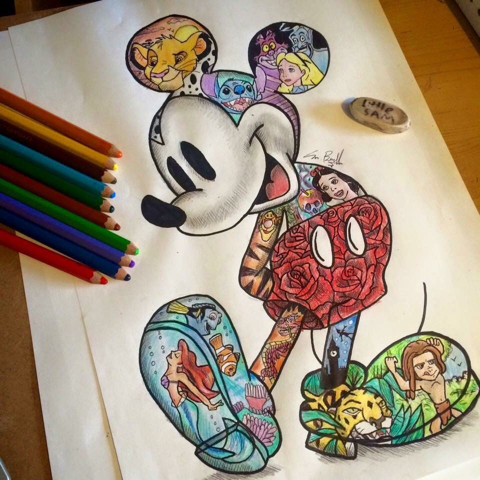 a bunch of disney characters inside of the original one, mickey. so
