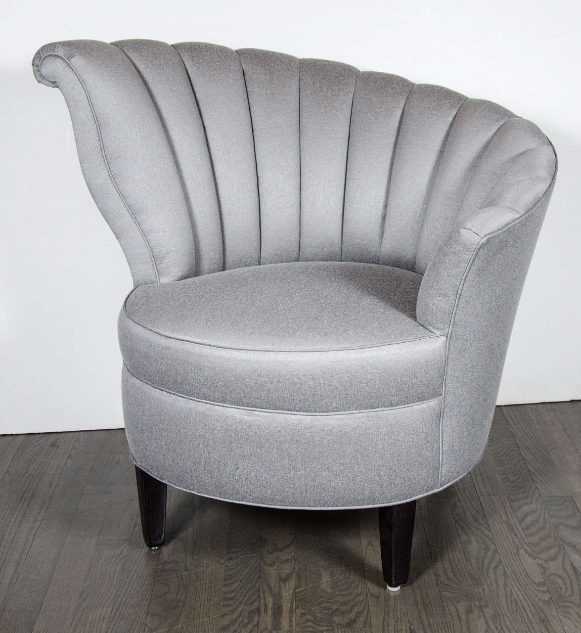 Marvelous Glamorous Pair Of 1940s Asymmetrical Fan Back Chairs In Platinum Sharkskin
