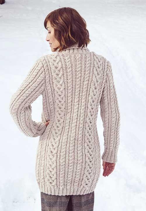 Shawl Collar Cabled Jacket Knitting Pattern Shawl Knitting